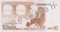 10 Euro banknote from the back