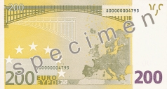 200 Euro banknote from the back