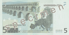 5 Euro banknote from the back