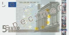 5 Euro banknote from the front