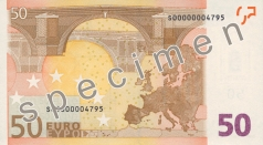 50 Euro banknote from the back