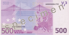 500 Euro banknote from the back