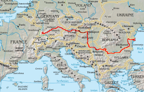 Danube in Europe and the Slovak part (map)