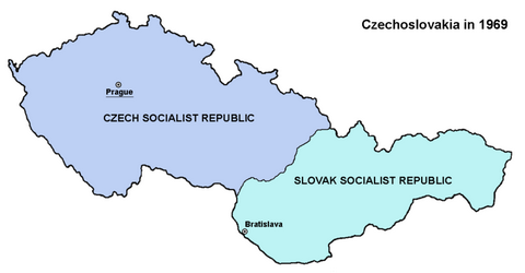 Map of Czechoslovakia in 1969