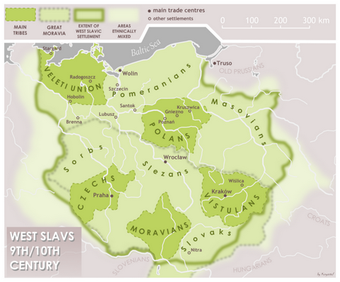 Map of West Slavs in 9th and 10th century