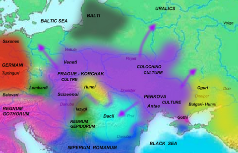 Map of Slavs in 5th century