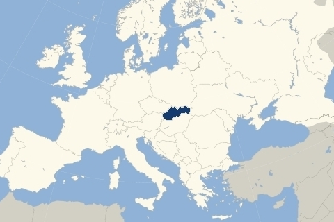 Slovakia's Location in Europe (on a map)